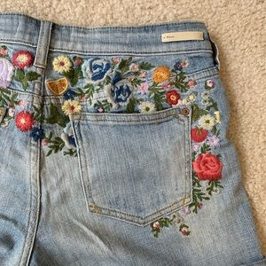 Anthropologie Pilcro Embroidered Shorts